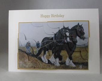 Horses Ploughing Birthday, Fathers Day Card, 3D,Personalise