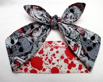 Reversible Blood Splatter Stains WHITE Zombie pinup goth Head scarf Headband Pinup Psychobilly Rockabilly Horror Monsters Bloody Bow