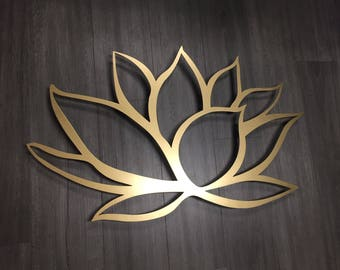 Gold Lotus Flower Metal Wall Art - Lotus Metal Art - Home Decor - Metal Art - Wall Art - Large Metal Wall Art -Silver Wall Art - Metal Decor
