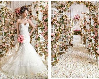 "8 pcs Length 180cm/70.86"" Rose Peony Rattan For Outdoor Wedding Ceremony Decor Silk Rose Vine Wedding Arch Floral Decora"