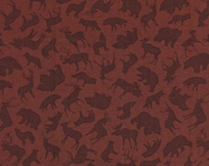 "28"" REMNANT North by Northwest - Forest Animals in Wine - Cotton Quilt Fabric - by Kanvas - Benartex Fabrics (W1644)"