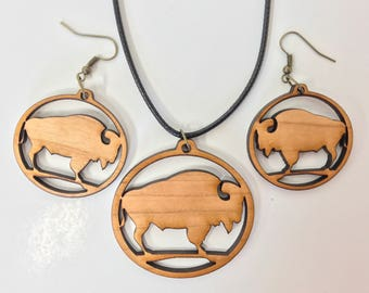 Introductory pricing! Wood Buffalo necklaces and earings!
