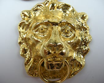 Enormous 1970's Lion Pendant with Extra Long Chain
