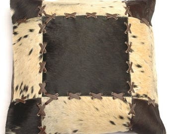 Natural Cowhide Luxurious Patchwork Hairon Cushion/pillow Cover (15''x 15'')a184