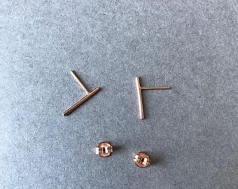 Rose Gold Round Bar Stud Earrings Type 4 - Rose Gold plated over Sterling Silver