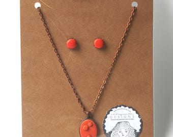 Copper Earring and necklace set in Deep Orange polymer clay original art by Cortney Rector Designs