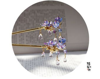 Chinese hair stick/flower hair stick/hair pin,purple hair accessories,gift for women,gift for her,wedding accessories