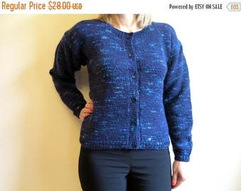 ON SALE Blue Knitted Jacket Knitted Cardigan Womens Knitwear Hand Made Jacket Medium Size