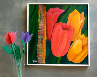 Tulips paintings, Floral canvas painting, Original artwork, Floral and botanical canvas, Wall Art, Framed Canvas, Still life flowers