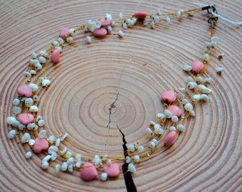 White & Pink heart necklace
