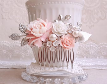 Baby pink flower Silver bridal hair comb Rustic floral comb Pearl assemblage wedding comb