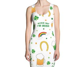 Kiss Me I'm Irish All Over St. Patrick's Day Sublimation Cut & Sew Dress