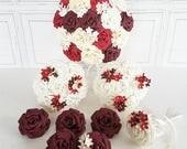 Paper Flower Wedding Origami Rose Bouquet autumn bordeaux plum red blossom ivory white wine Bouquet theme wedding alternative