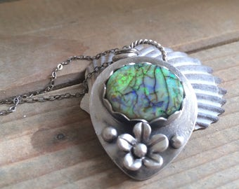 Sterling Silver monarch opal necklace