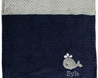 Minky Whale Blanket, Personalized Whale Minky Blanket- Navy And Silver Baby Blanket- Nautical Baby blanket, Nautical Nursery