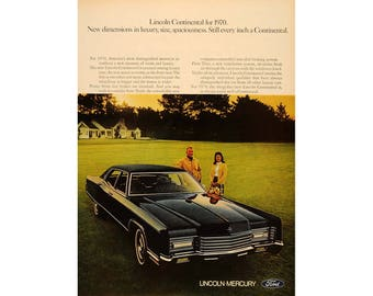 Vintage magazine poster advertisement for a 1970 Lincoln - 22