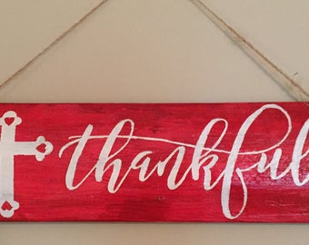 "Handcrafted Wood ""Thankful"" Sign"