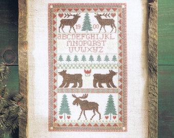 CROSS STITCH PATTERN - Forest Animal Sampler Cross Stitch Pattern - Alphabet Sampler - Wild Animal Sampler