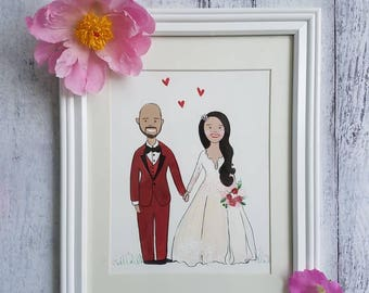 Wedding Illustration/ wedding gift/ anniversary gift/ Custom Wedding painting/ Illustrated bride and groom/ Unique Wedding Gift