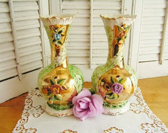 Pair of Vintage Pereiras Valado Porcelain Vases Applied Roses and Gold Mantel Vases Pair Porcelain Vases Made in Portugal Cottage Chic