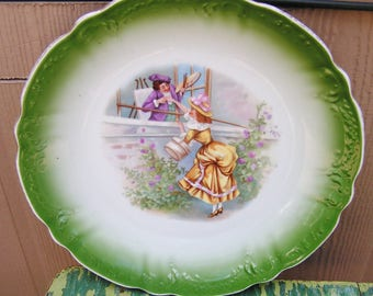 Vintage Blenheim Germany China Charger Large Cabinet Plate Funny Scene with Artist About to Boost Lady Through Window Colorful German Plate