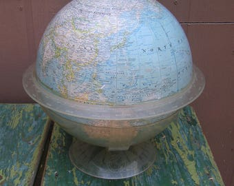Vintage 1961 Mid Century National Geographic Globe With Mod Clear Plastic Base Library Globe Retro World Globe