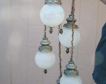 Vintage Large MCM Hollywood Regency Moe Light Crackle Glass and Brass 5 Tier 5 Strand Hanging Swag Light Lamp