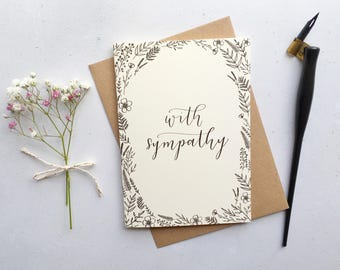 With Sympathy Card / Modern Calligraphy / A6 Greeting Card / Floral Drawing