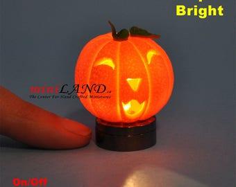 Halloween Pumpkin bright battery LED LAMP Dollhouse miniature 1:12 on/off switch HOP10