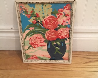 Vintage Paint by Number, Roses Paint by Number, framed paint by number