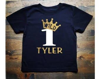 Wild One First Birthday - Gold Crown First Birthday Shirt - Boys First Birthday Shirt - 1st Birthday Shirt Boy - First Birthday Boy Shirt