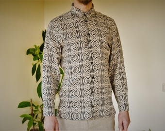 Natural linen with black print classic handmade men's shirt