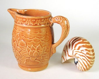 McCoy Waterlily Pitcher with Fish Handle Vintage 1930's
