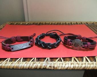 3 leather thickness 4mm shamballa bracelets