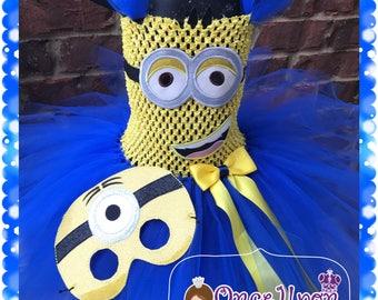 inspired Minion tutu. Minion dress. Minion bithday. Minion mask. Minion costume.