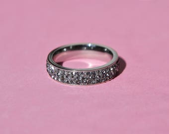 Steel and gray zirconium ring