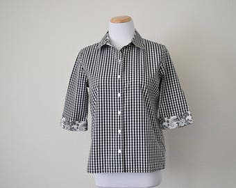 FREE usa SHIPPING vintage Women's 3/4 sleeves button up checkered blouse/ cotton polyester blouse/ black and white size 6P