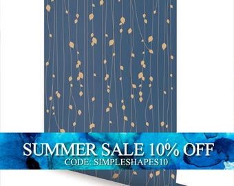 Leaves Blue Peel & Stick Fabric Wallpaper Repositionable