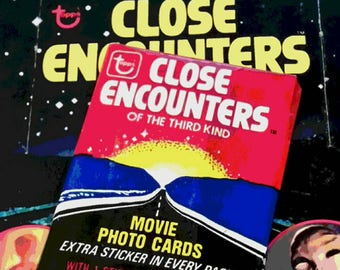 70s CLOSE ENCOUNTERS of Third Kind Cards UFO Alien Abduction 1978 Vintage Trading Cards Sticker SciFi Outer Space Party Favor Ufologist Gift