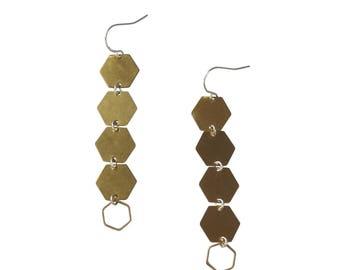 Hexagon Drop Earrings;  Geometric Earrings; Hexagon Jewelry; Brass Hexagon Jewelry; Gold Hexagon Drop Earrings; Geometric Earrings; Brass