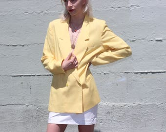 Vintage Canary Yellow Lightweight Blazer Large