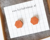 Birchwood earrings, wood stud earrings, copper colored, hexagoon earrings, geometric, minimalist, xmas, wedding, gala, wood jewelry