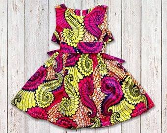 Girls African Dress with Bolero Jacket and Head Band , sizes 1 month - 14 years