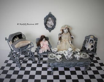 Dollhouse Miniature Nursery Ghost Creepy Girl Victorian Tea Party with Spooky Dolls and Pram in 1:12 scale