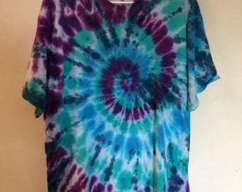 Men's 2X tie dye tee teal purple and blue double dip twice dyed, Hanes ComfortSoft