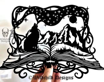 Wolf & Mountains Book Illustration Silhouette Paper Cutting Template for Personal or Commercial Use Papercut Cut Teacher Gift Reading