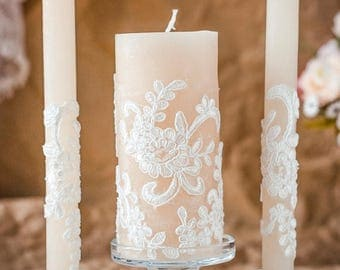 8% OFF Lace Unity Candle, Rustic Wedding Unity Candle Set, Vintage Pillar Candles, Rustic Wedding Ideas, Country Wedding, Vintage Candle Set