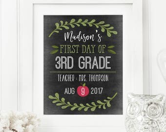 Printable Back To School Chalkboard Sign Editable Template, Use For First or Last Day of School, Instant Download 8x10 inches