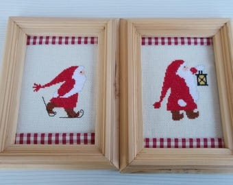 Christmas cross-stitch embroidered gingham with wooden frame.