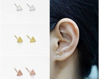925 Sterling Silver Earrings, Triangle Earrings, Gold Plated Earrings, Rose Gold Plated Earrings, Stud Earrings, Size 3 mm (Code : K02B)